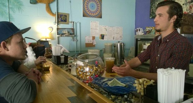 Zack Maher, who is passionate about kratom, bartends at Gulfport's Low Tide Kava Bar on a Sunday.