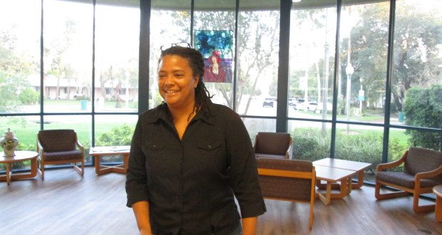 """Equality Florida Co-Founder and CEO Nadine Smith addresses the audience during her talk """"Freedom to Read, Freedom to Marry: Where We Stand"""" at the Gulfport Public Library on May 21."""