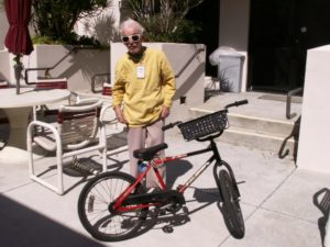 Richard Struckmeier, 88, poses with the bicycle he rides 6 miles roundtrip weekdays from his home in St. Petersburg to the Gulfport Multipurpose Senior Center to volunteer in the meals program.