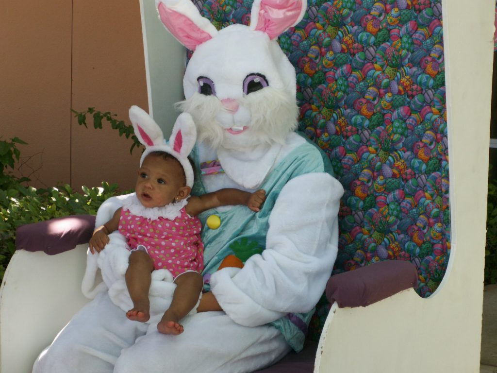 "Aleah Marshall of St. Petersburg, 7 months, tries to figure out whose ears are bigger as she gets her picture taken with the Easter Bunny at Saturday's Fun in the Sun event. Her mother, Amanda Marshall, said Aleah seemed to sense the excitement of her first Easter celebration. ""I think she feels the vibe,"" she said."