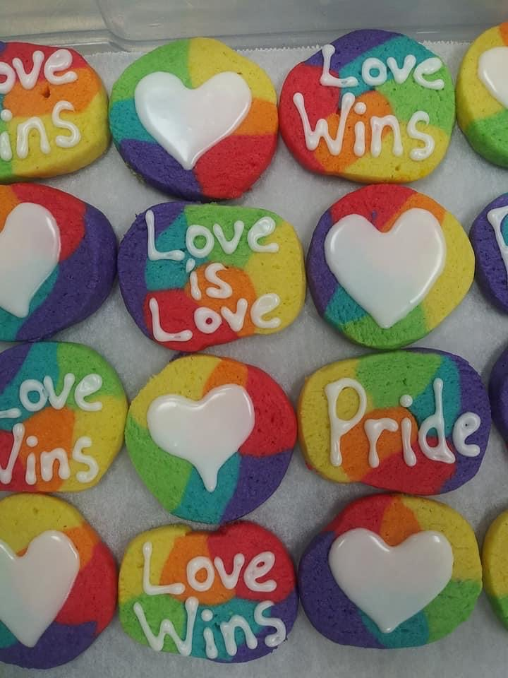 A Friend Who Bakes featured Pride-themed cookies and donuts throughout the month. Photo courtesy of Brittney Sherley.