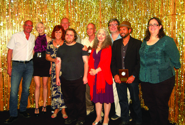 Cathy Award winners (L to R): Jon Ziegler, Jennifer Casler, Eileen Navarro, Patrick Brafford, Mason Mills, Tom Guy, Gay Lora Grooms, Jay Ashworth, Rob Romero, Jill Finlayson.  Photo by Preston Brock.