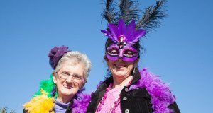 Keitha Tupper from Ogdensburg, NY poses with her daugther Kim Tupper before the Mardi Gras parade.