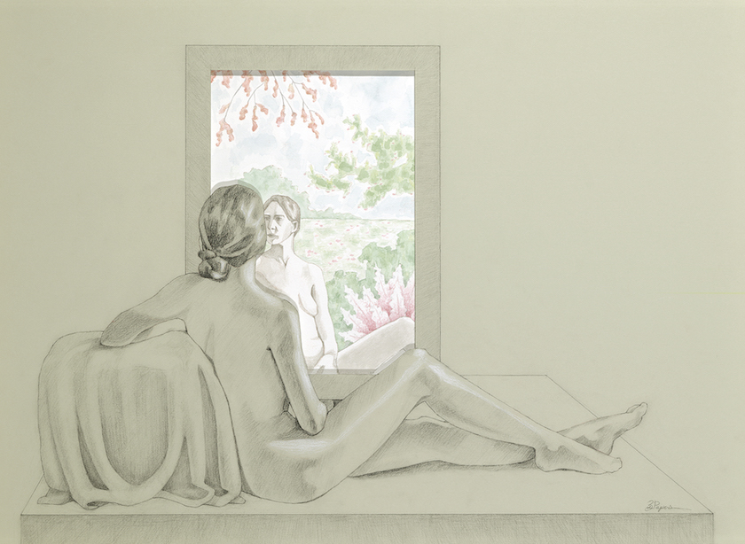 A drawing of a woman looking into a mirror