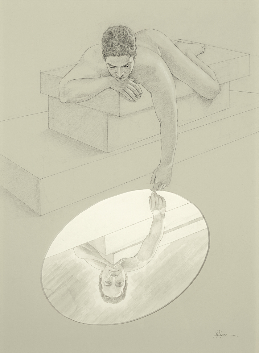 A drawing of a person looking down into a mirror