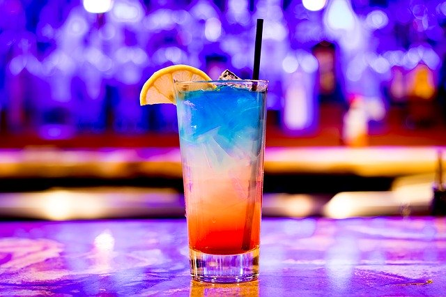 colorful cocktail on bar