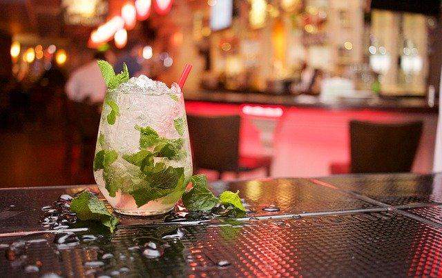 mojito sitting on a bar top