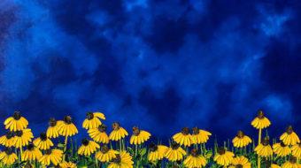 Acrylic painting of sunflowers against a blue sky