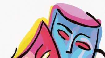 Cartoon pink and white theater masks