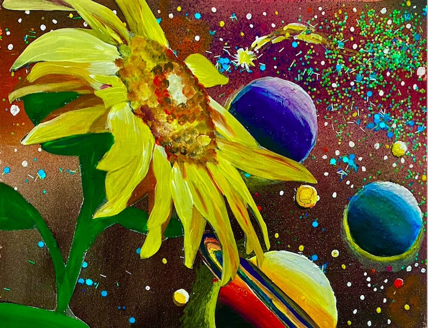 A colorful painting of a yellow flower with planets