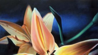 Pink and green lily painting