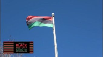A flag pole with the Pan African flag flying in a blue sky