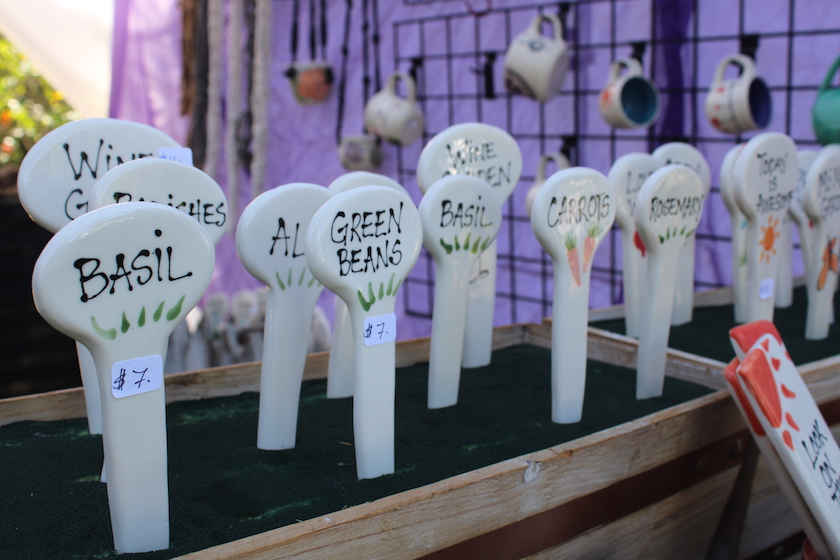 A display of ceramic garden tags