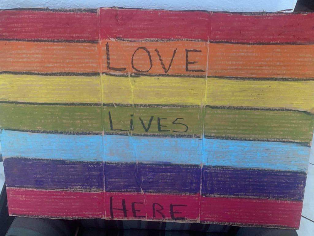 Leigh Hanson creates a rainbow image with a message we can all appreciate. Photo courtesy of Leigh Hanson.