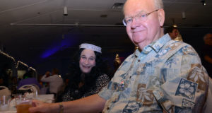 Bob Newcomb, right, with wife Bev, at GeckoBall in 2013. Photo by Cathy Salustri.