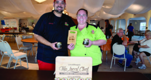 Joseph and LeAnn Jackson, owners of Brandon-based Le'Anns Cheesecakes 'N More, show off their awards and products Sunday, April 24 at the conclusion of LocalShops1's Top Local Chef contest at the Gulfport Casino.