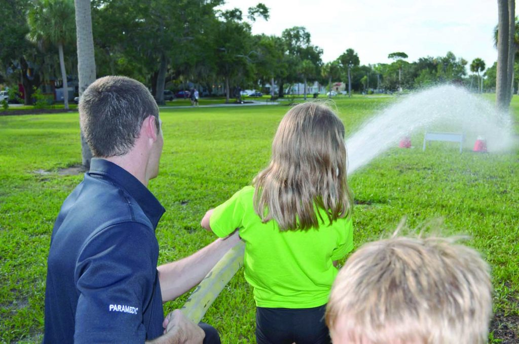 Members of the Gulfport Fire Department gave the ever-popular fire house demonstrations at Night Out Thursday August 4.