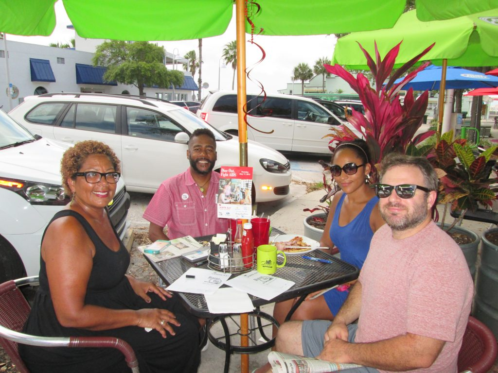 Gulfport Councilmember Yolanda Roman, Brian Liggins, Jolie Wallace and Trent Cooper dinning out last Thursday.