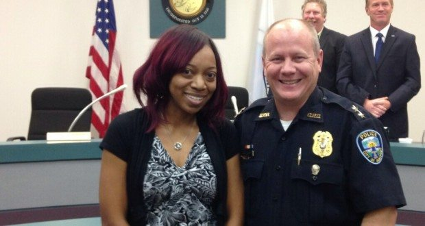 Officer of the Year Crystal Langston with Gulfport Police Chief Rob Vincent