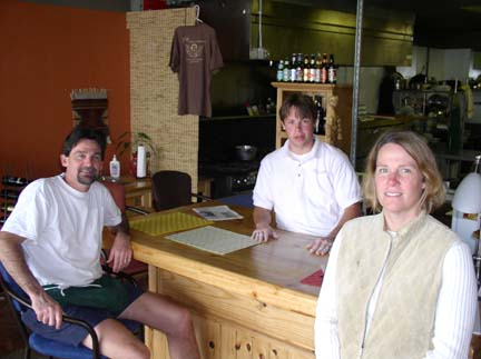 Tony, Doug and Peg (l-r) at the opening of the original Peg's Pizza-Cantina on Gulfport Boulevard in 2004.