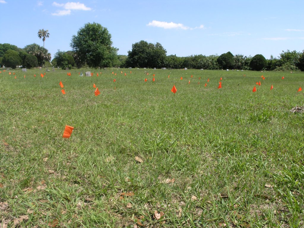 Hundreds of orange flags placed in large swaths of grass in Lincoln Cemetery by Gulfport resident Vanessa Gray mark graves without headstones or other identification.