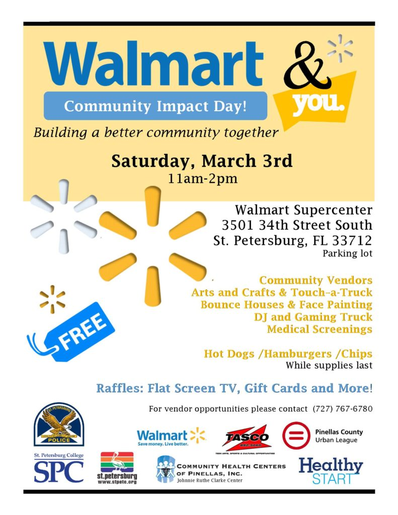 the city of st petersburg police department and walmart will host a community impact day on saturday march 3 the interactive event will feature community