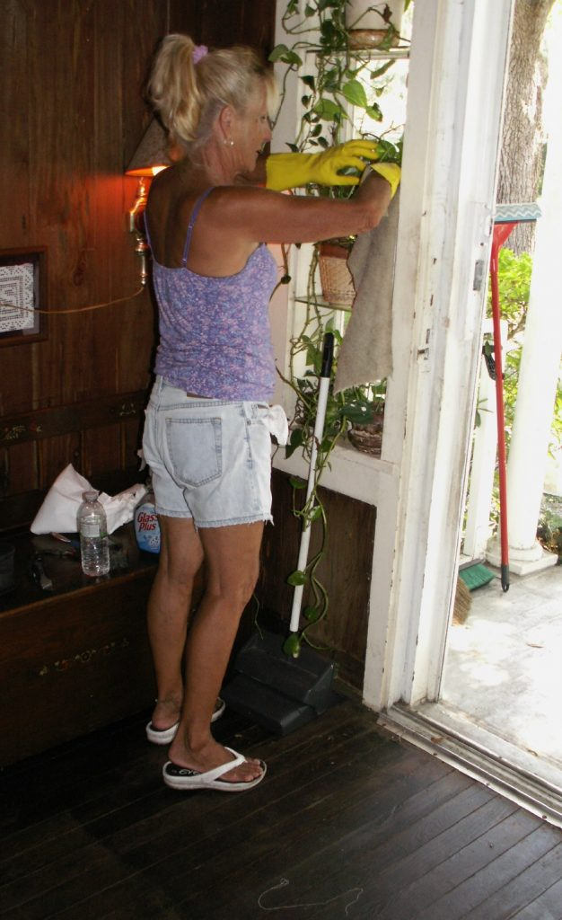 Betty Pearson wipes down plants and pots Saturday at the Gulfport Neighbors' cleanup project.