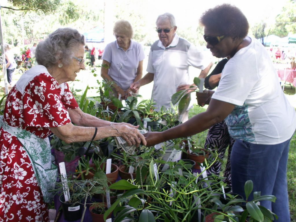 "Dahleen Bache of St. Pete Beach makes change for customers buying plants Friday, October 9 at the sale while other visitors browse. ""We work very hard,"" said Bache, who has been a garden club member for more than 25 years."