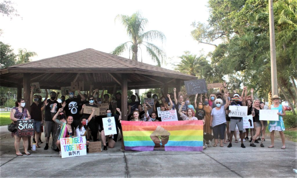 At the conclusion of the Monday, June 8 rally in Gulfport an exhausted, yet motivated group of over 40 participants posed for a photo marking Gulfport's inaugural rally against police brutality and in support of Black Lives Matter.