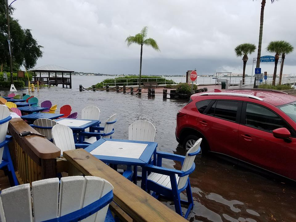"Storm water and ""above-normal tides"" flooded Shore Blvd. Monday. Photo courtesy of O'Maddy's Bar & Grille."